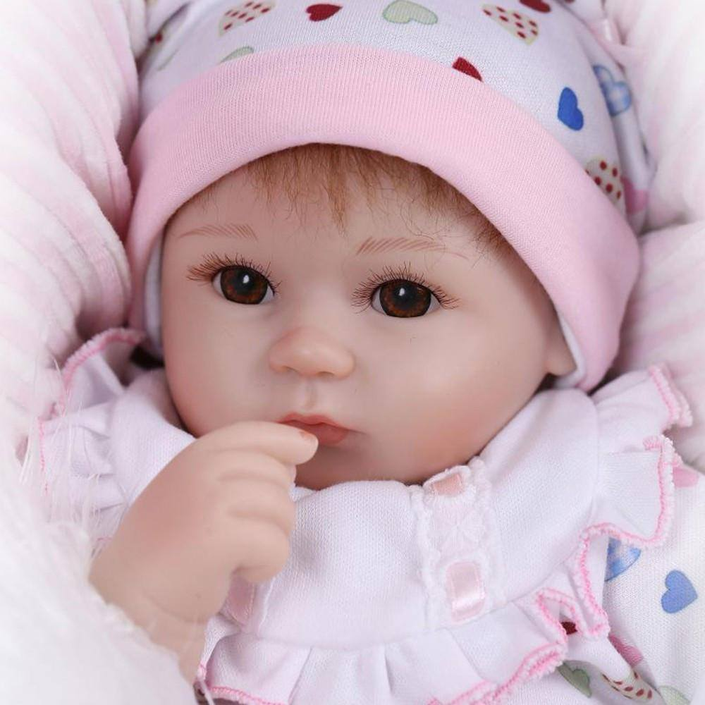 Reborn Baby Doll Girl Baby Bath Toy Silicone Body Eyes Open With ...