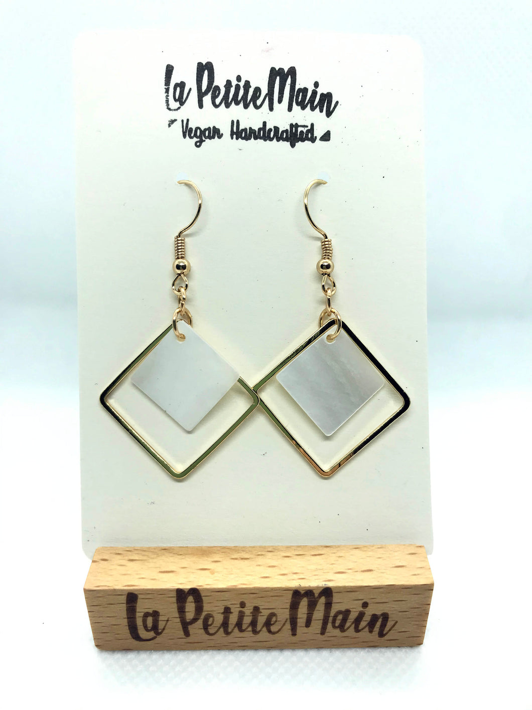 Gold Square Dangle Earrings with shells