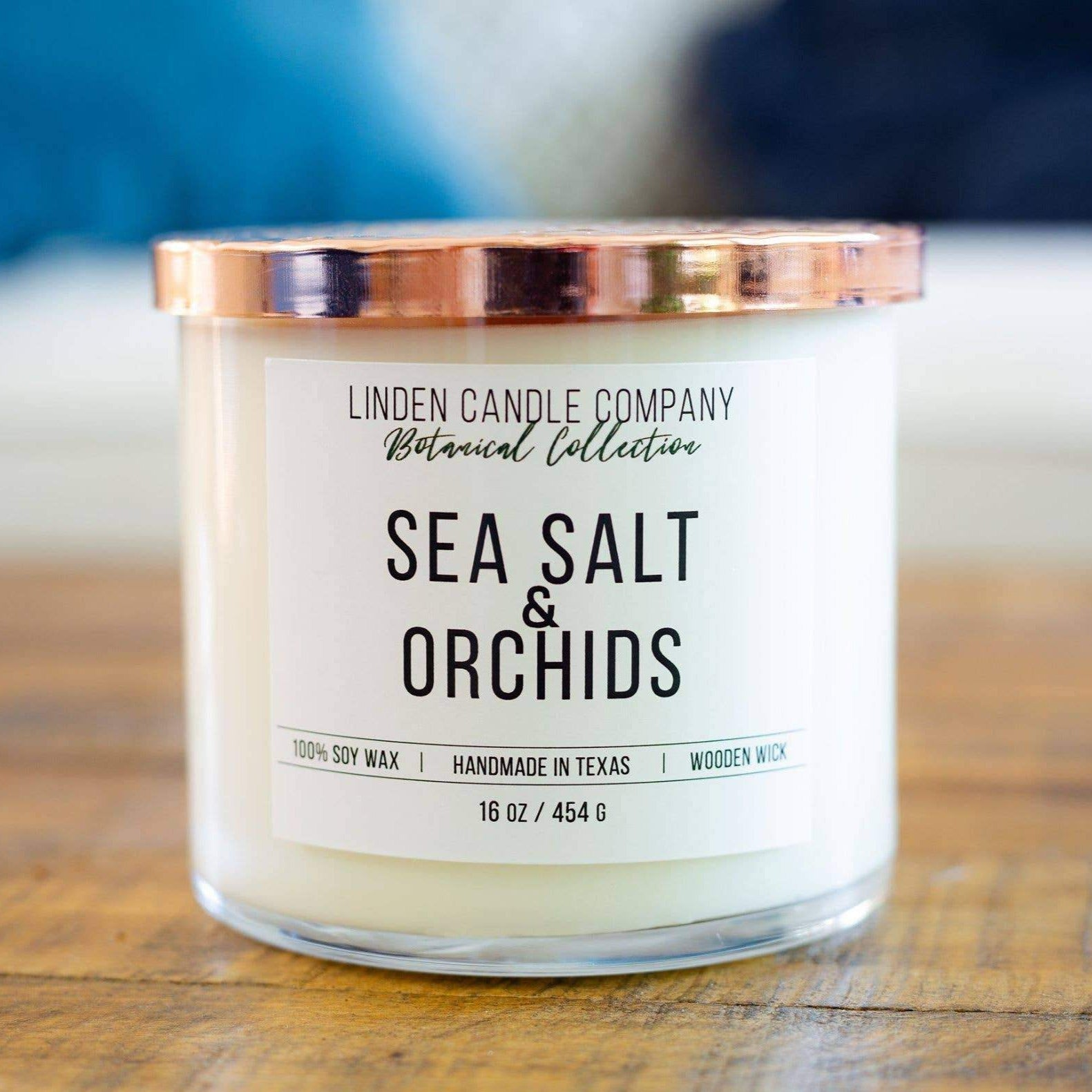 Linden Candle 16oz Sea Salt & Orchids