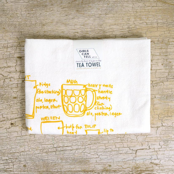 Girls Can Tell Tea Towel Beer Glassware