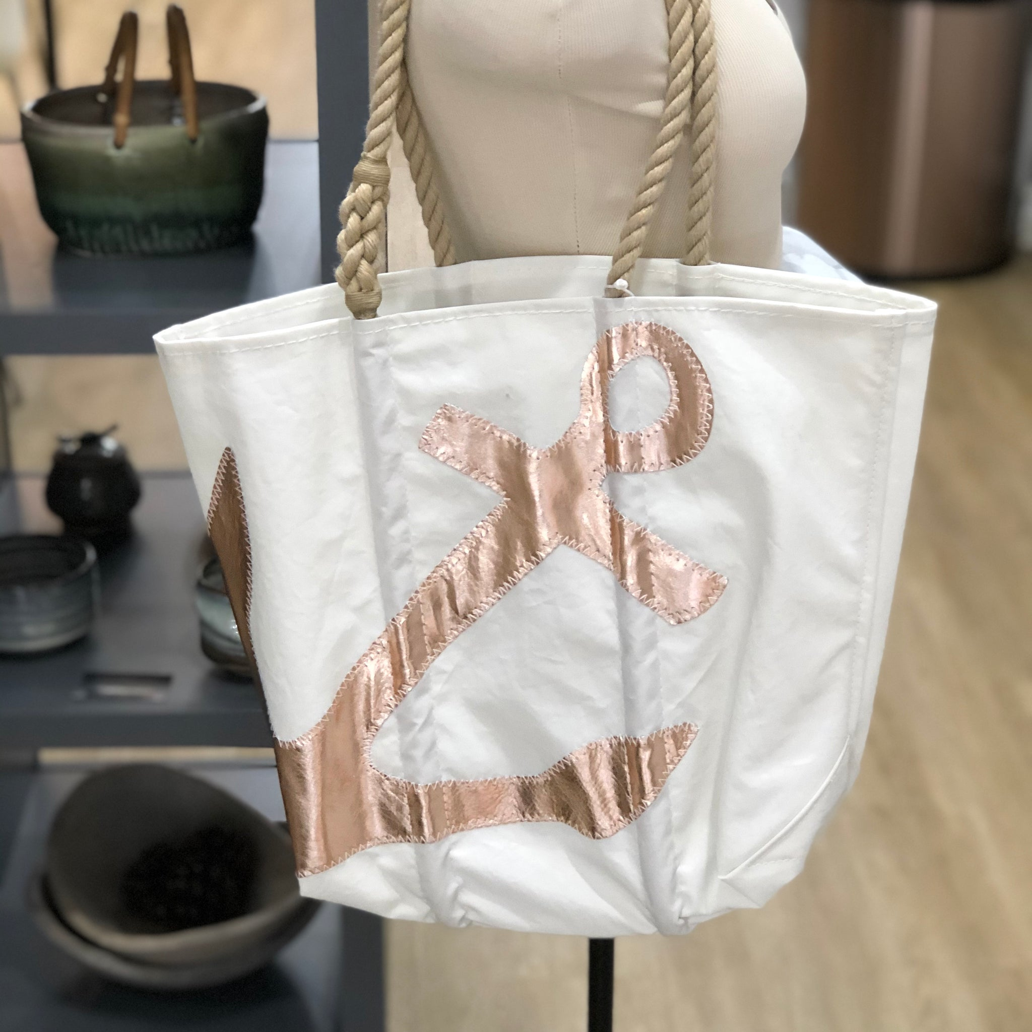 Sea Bags Maine Tote Anchor Rose Gold