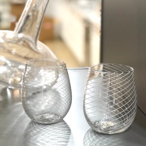 Gathered Glass Stemless Wine Glasses