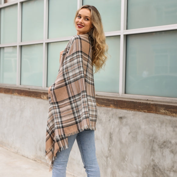 Leto Classic Plaid Pocket Ruana available in additional colors