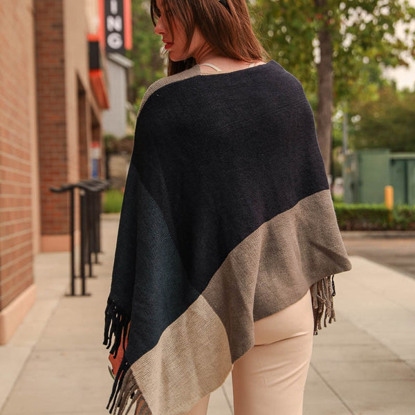 Leto Color Block Tassel Poncho available in other colors