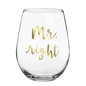 SBDS Stemless Wine Glass Mr. Right