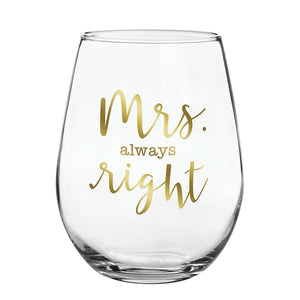SBDS Stemless Wine Glass Mrs. Right
