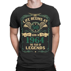 2019 Fashion Summer Style Life Begins At 50 Mens T-Shirt BORN In 1964 Year of Legends 50th Birthday Gift Tee shirt