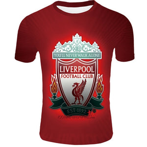 2019 Liverpool T-shirt  Mo Salah Jersey you will never walk alone 3D print t-shirt  never give up on the Champions League Jerse