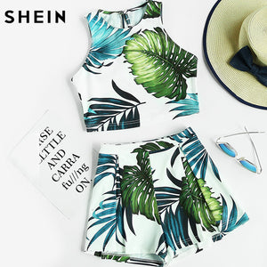 SHEIN 2 Piece Set Women Crop Tops Women 2017 Multicolor Jungle Print Sleeveless Crop Tank Top and Pleated Shorts Co-Ord