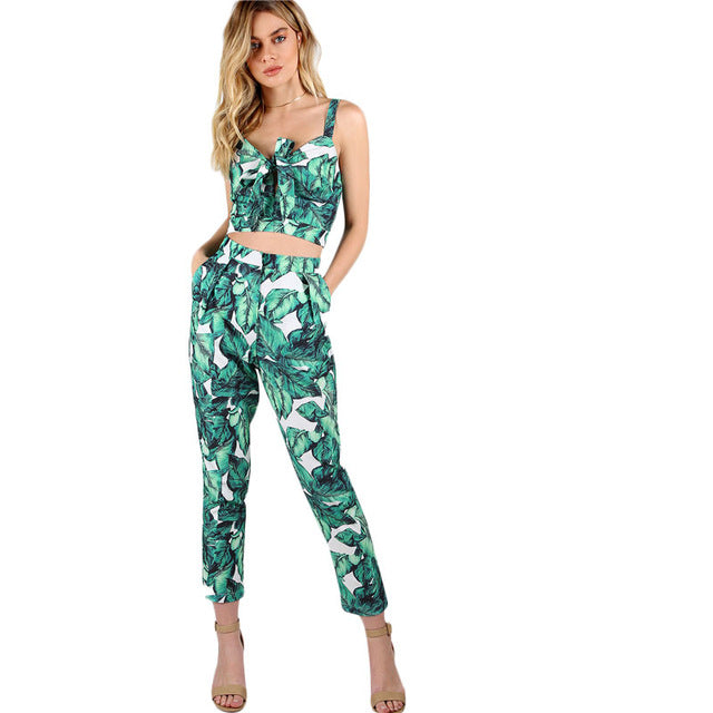 SHEIN 2018 New Front Tie Leaf Print Crop and Matching Pants Set Women V neck Pocket Straps Sleeveless Tropical 2 Pieces Sets