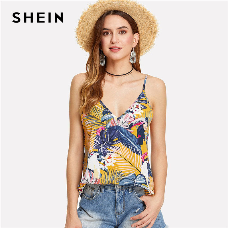 SHEIN Multicolor Vacation Boho Bohemian Beach Floral Tropical Mixed Print Backless Double Deep V Neck Summer Women Cami Top