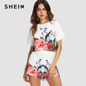 SHEIN Multicolor Elegant Floral Round Neck Short Sleeve Button Crop Top And Shorts Set Summer Women Weekend Casual Twopiece