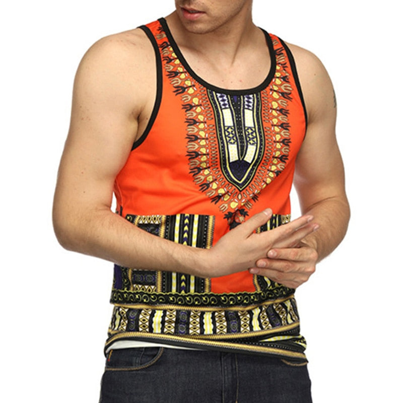 Retro Ethnic Mens Summer Casual Tank Tops Crew Neck Floral Print Vest Tee Loose HipHop Joggers Streetwear African Style Tee