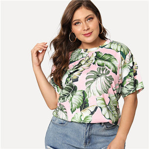 SHEIN Multicolor Tropical Print Short Sleeve Plus Size Women Top Tees 2018 New Summer Weekend Casual Round Neck Cotton T-shirt