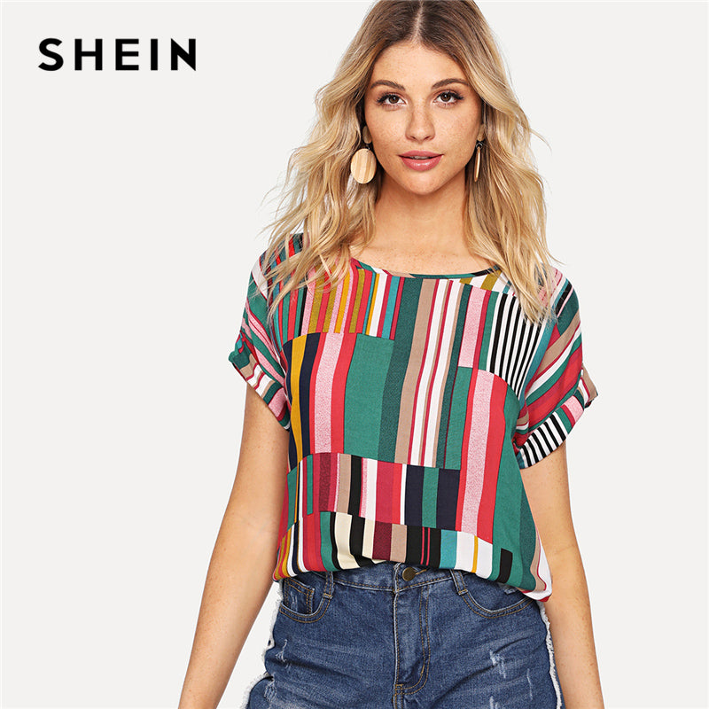 SHEIN Multicolor Mix Striped Print Rolled Up Tee Casual Scoop Neck Colorblock T-Shirt Women Summer Short Sleeve Tops