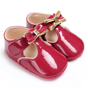 Pu Leather Bow Baby Shoes
