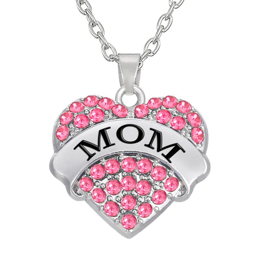 Big Litter Sister Mom Crystal Heart Necklace