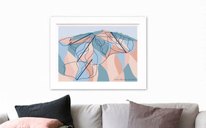 Cardrona Ski Resort Trail Map. Modern Geometric Art Print, Queenstown & Wanaka, New Zealand