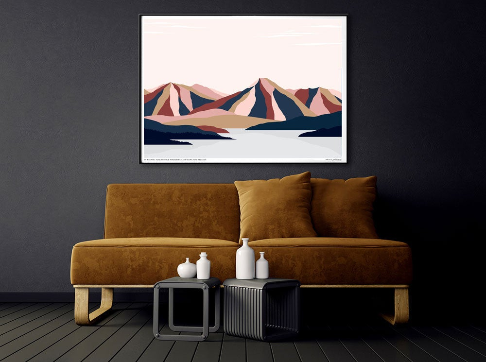 Mt RUAPEHU, NGAURUHOE and TONGARIRO, Lake Taupō, North Island, New Zealand. Modern Mountains and Lake Landscape Art
