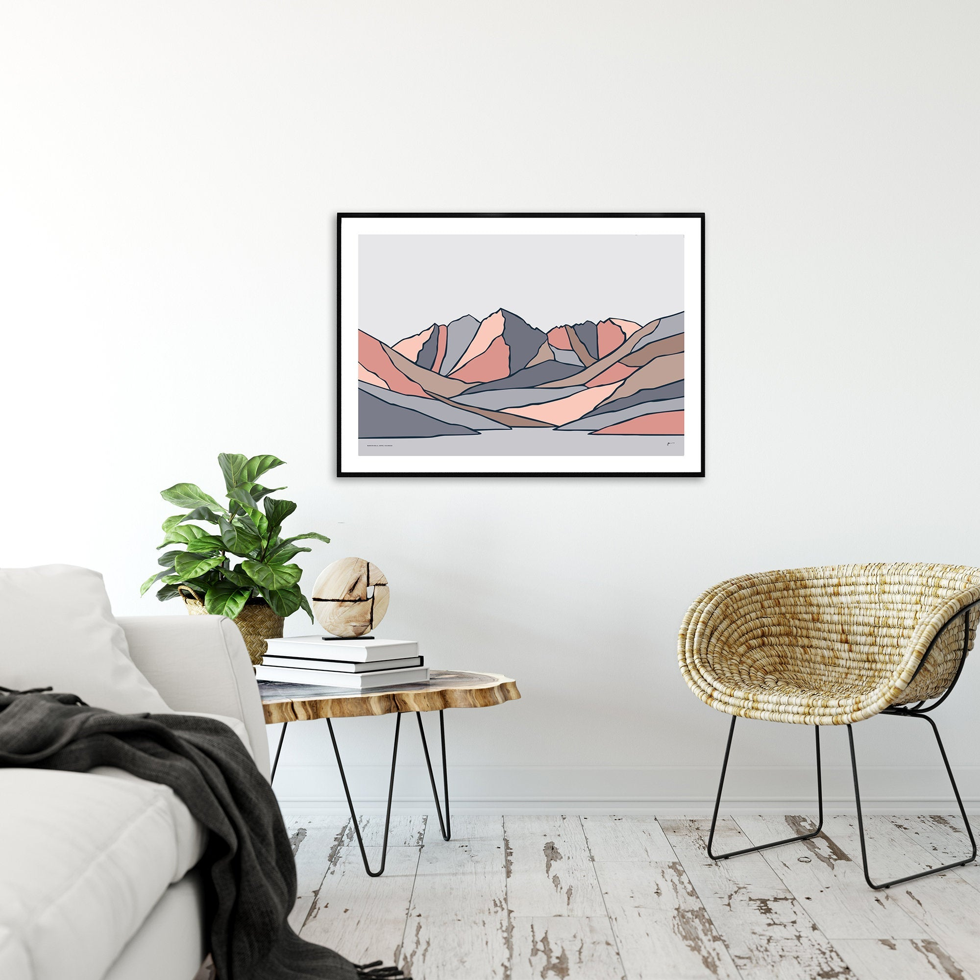 Maroon Bells, Aspen, Colorado. Contemporary Modern Mounrain Art Print