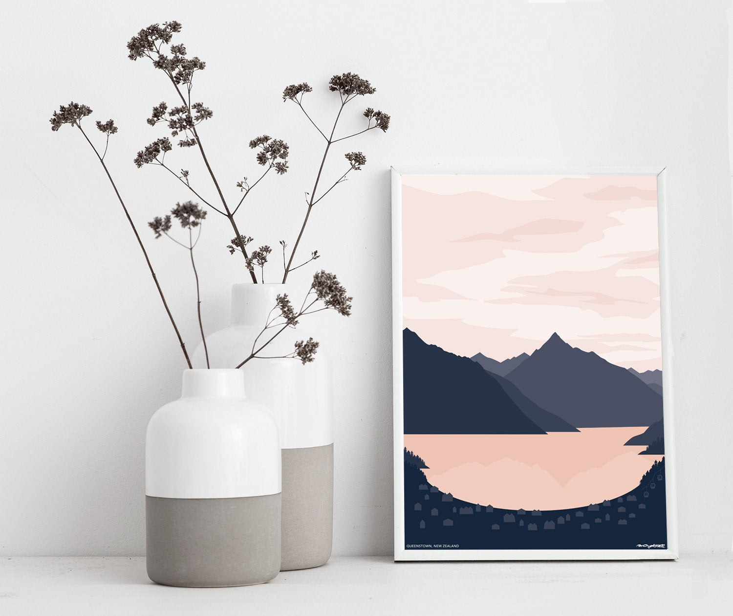 QUEENSTOWN, New Zealand Contemporary Lake and Mountain Art Print