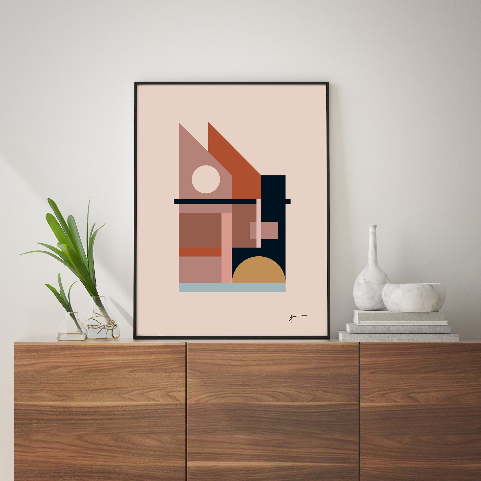 Mid Century Abstract House Wall Art Print