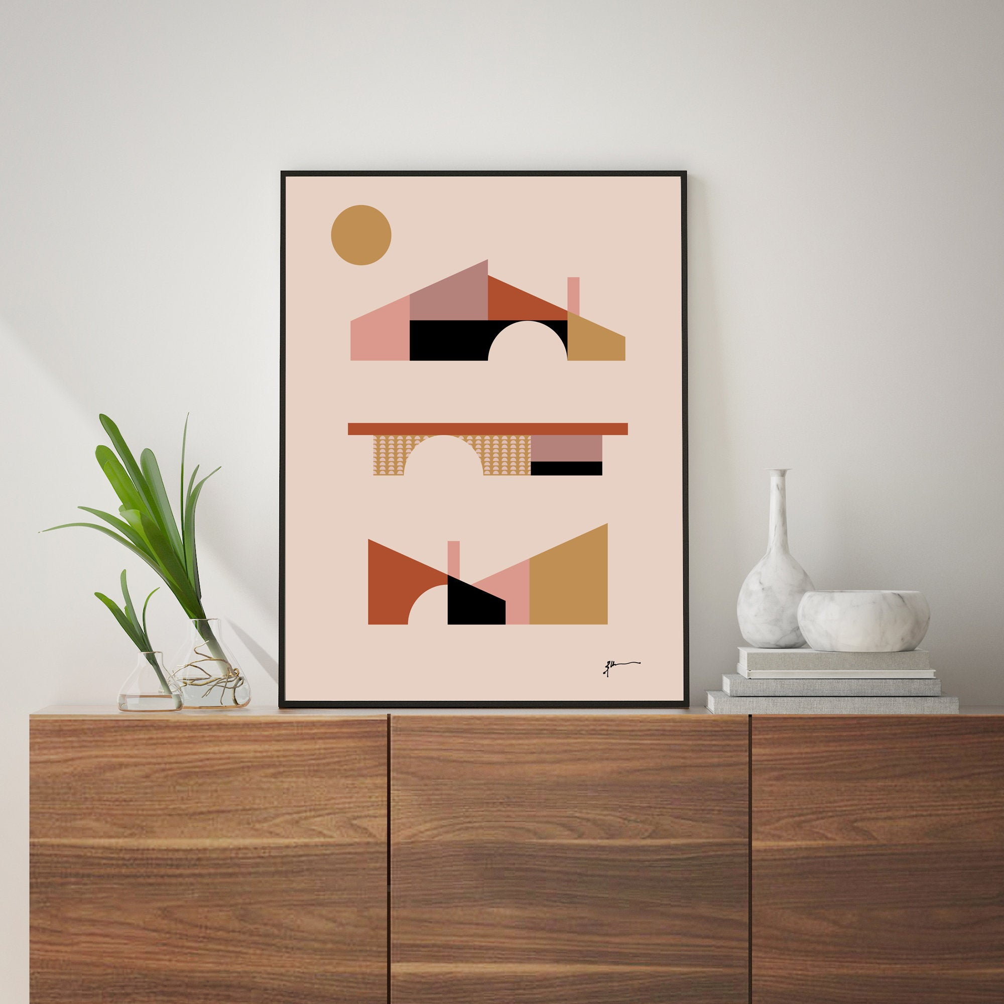 Mid Century Abstract Architecture Wall Art Print