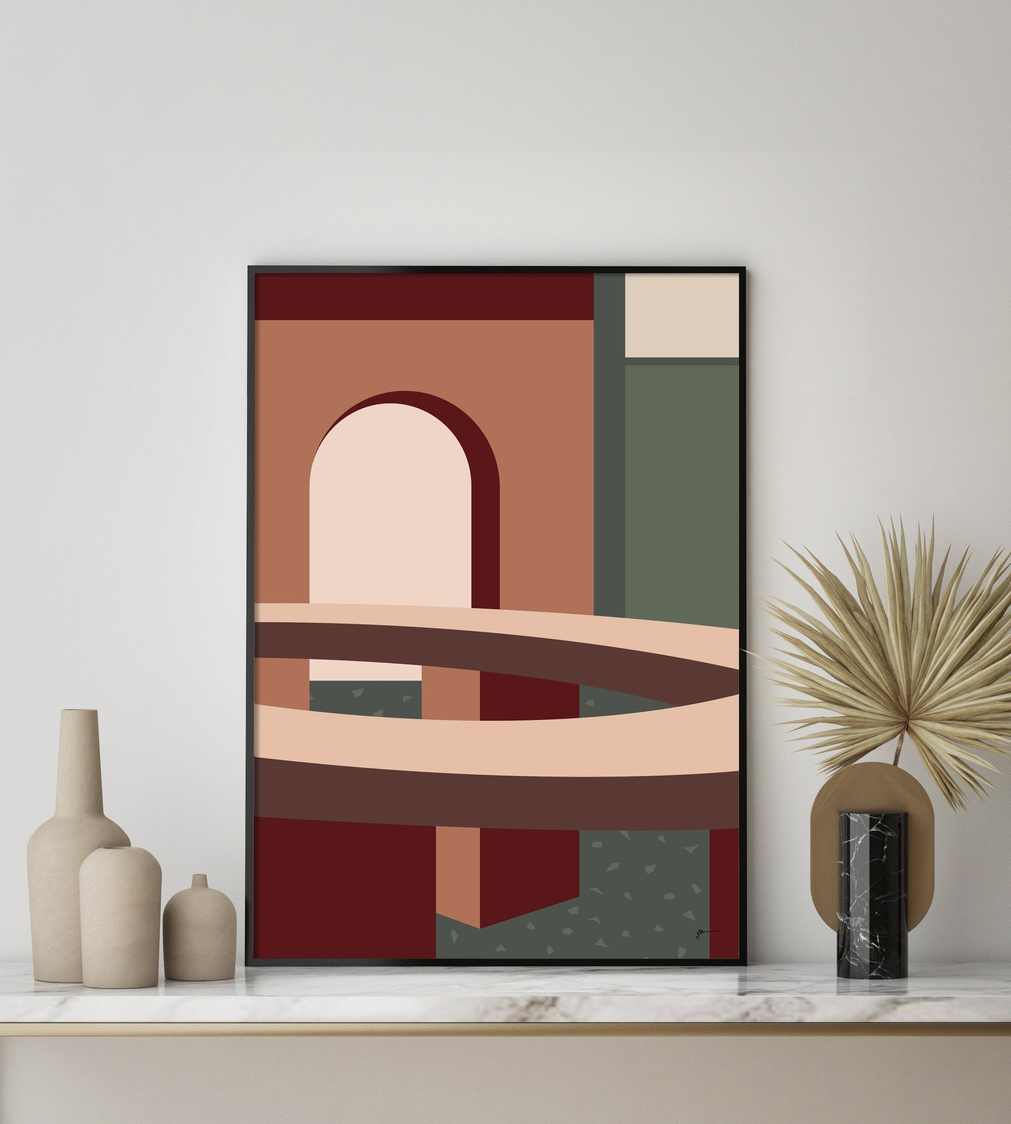 Mid Century Modern Abstract Interior Architecture Geometric Art Print