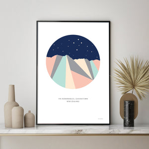 The Remarkables Mountain Range Night Sky Southern Cross, Queenstown New Zealand. Geometric Art Print