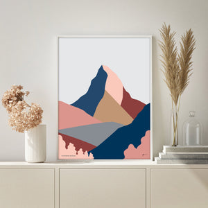 The Matterhorn Art Print. Zermatt, Switzerland and Italy. Modern Mountain Landscape Art