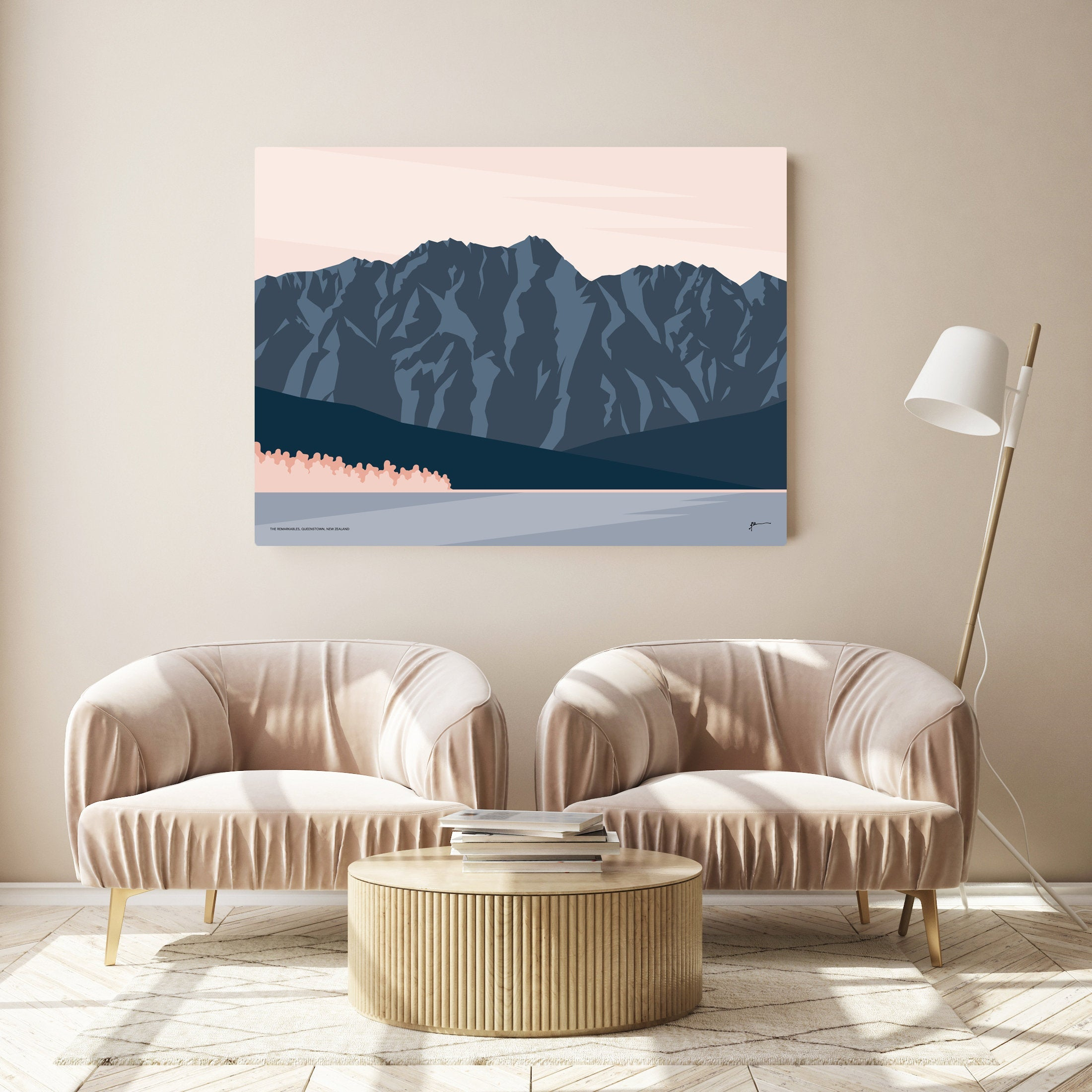 The Remarkables Mountain Range Queenstown, New Zealand Modern Landscape Art Print