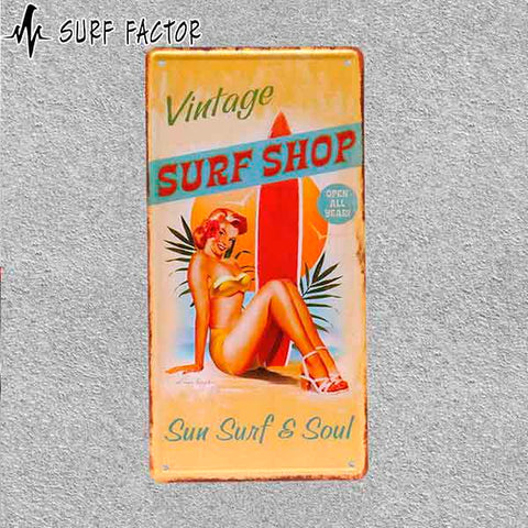 Vintage Surf Shop Metal Sign