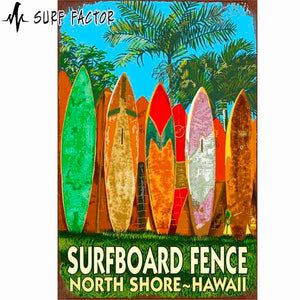 Surfboard Fence Metal Sign