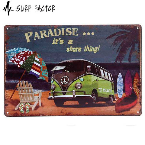 Paradise Beach Metal Sign