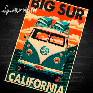 Classic Vintage California Surf Van Sticker
