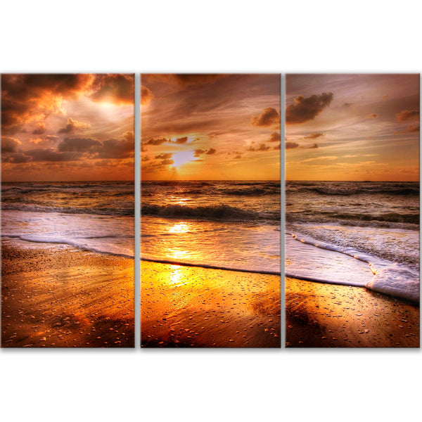 Golden Seashore Canvas Triptych