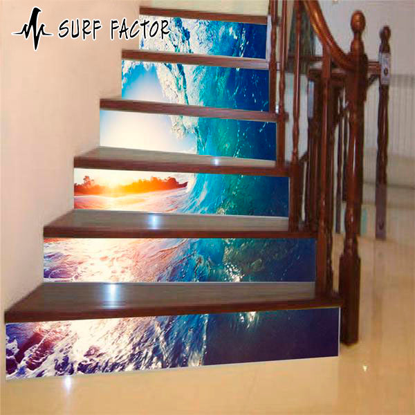Golden Wave Stairway Sticker