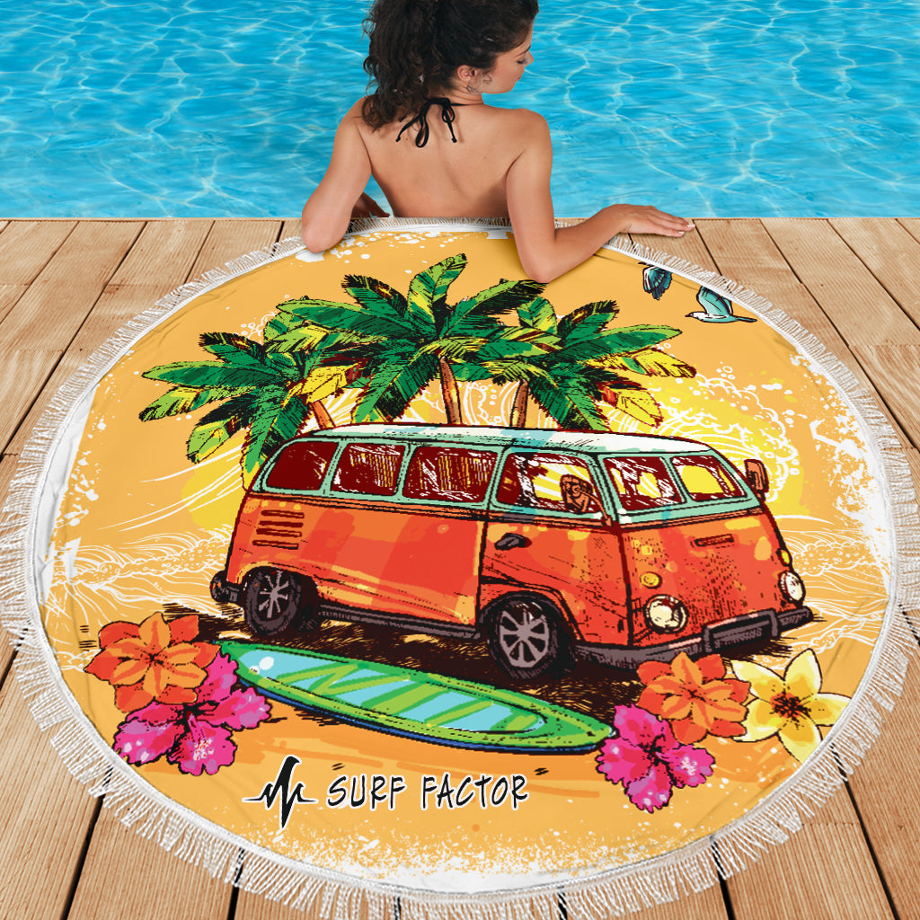 Surfer's Van Round Beach Towel