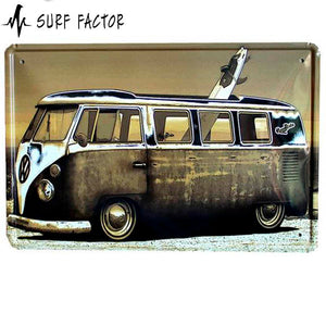 Old School Surf Van Metal Sign