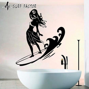 Girl On The Surfboard Sticker