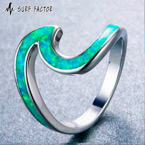 Green Fire Wave Opal Ring