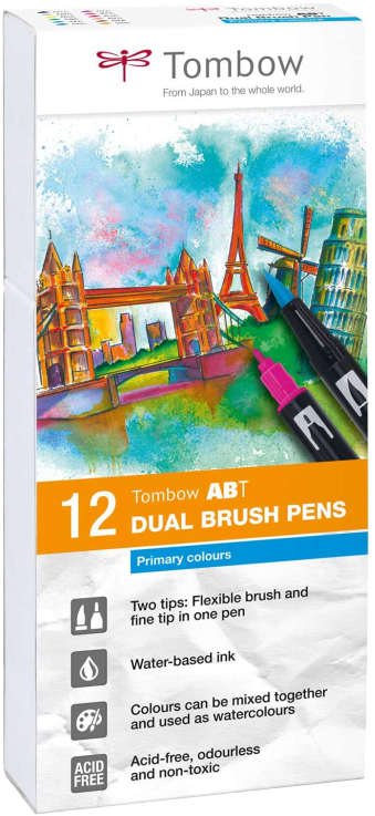 Tombow ABT Set da 12Pennarelli Dual Brush Pen Colori Primari