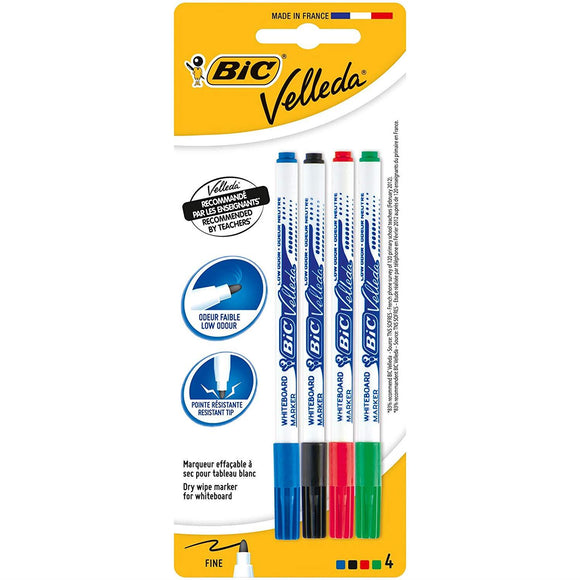 BIC Velleda  cancellabile secco colori assortiti blister di 4