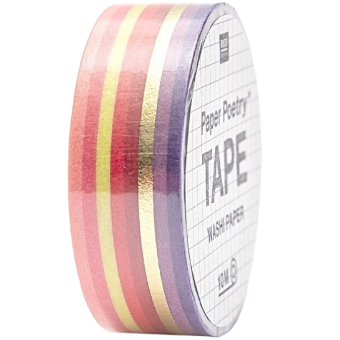 Washi tape Rico Paper Poetry Tape strisce rosse