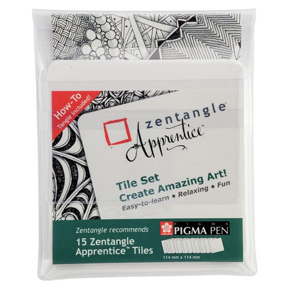 Zentangle 15 Original Apprentice Tiles, 15 Bianco Piastrelle quadrate