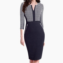 Load image into Gallery viewer, Plus Size Front Zipper Women Work Wear Elegant Stretch Dress Charming Bodycon Pencil Midi Spring Business Casual Dresses 837