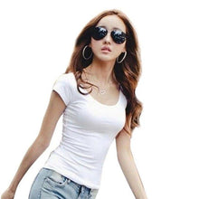 Load image into Gallery viewer, Female T Shirt Women Summer Short Shirts Solid O-Neck Casual Shirt Tops Plus Size S/M/L/XL/XXL Camiseta Feminina#B706