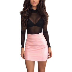 FEITONG 2017 Pink Brown Women Solid High Waist Sexy Bandge PU Leather High Waist Pencil Bodycon Hip A-Line Short Mini Skirt&30
