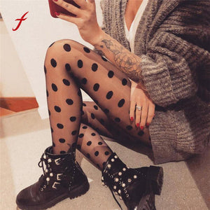 Mesh Black Polka Dot Gauze Pantihose Leggings Women Sexy Perspective Spring legging trousers Elastic Skinny Fitness Clothing