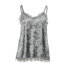 Load image into Gallery viewer, 2017 Summer Women Top Sexy Lace Neck Cami Sleeveless Strappy Camisole Cropped Velvet Vest Spaghetti Strap Tank Top Pink